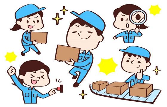 ①空箱の供給作業 ②簡単な組付け・検査の作業